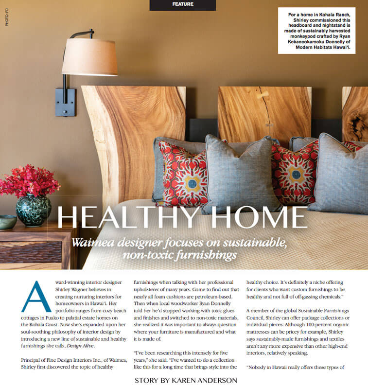 Fine Design Design Alive Sustainable Furnishings Line featured in At Home In West Hawaii magazine